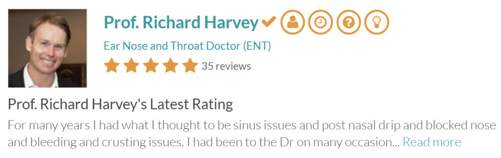 Prof Richard Harvey   Ear, Nose and Throat Doctor Latest Review